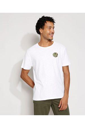 Suncoast Homem Manga Curta - Camiseta Masculina Manga Curta Folhagem Gola Careca Branca