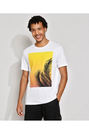 Suncoast Homem Manga Curta - Camiseta Masculina Manga Curta Folha Gola Careca Branca