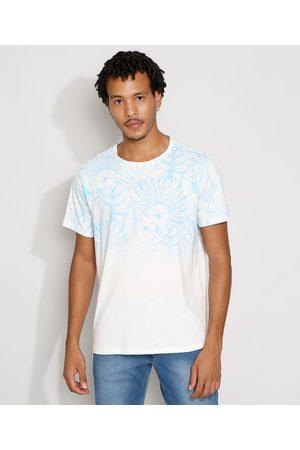 Clockhouse Homem Manga Curta - Camiseta Masculina Estampada Manga Curta Floral Degradê Gola Careca Branca