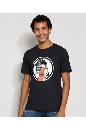 Dragon Ball Homem Manga Curta - Camiseta Masculina Manga Curta Gola Careca Preta