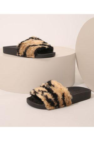 MOLEKINHA Chinelo Slide Infantil em Pelúcia Animal Print Tigre Preto
