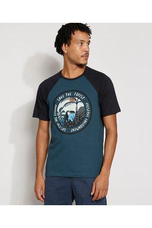 Suncoast Homem Manga Curta - Camiseta Masculina Manga Curta Tucano Raglan Gola Careca Azul Petróleo