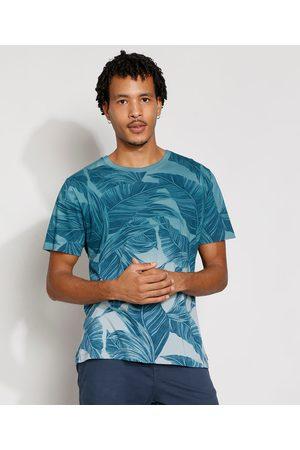 Suncoast Homem Manga Curta - Camiseta Masculina Estampada Manga Curta Folhagem Degradê Gola Careca Azul