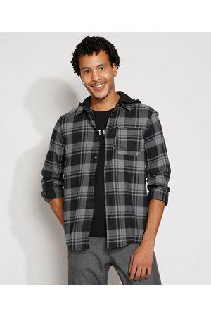 Clockhouse Homem Camisa Casual - Camisa de Flanela Masculina Tradicional Estampada Xadrez com Capuz Manga Longa Cinza