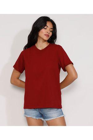 Basics Mulher Camiseta - Camiseta Feminina Manga Curta Básica Ampla Decote Redondo Vermelha Escuro