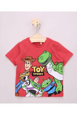 Disney Camiseta Infantil Toy Story Manga Curta Gola Careca Vermelha