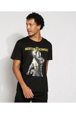 Warner Bros Homem Manga Curta - Camiseta Masculina Manga Curta Mortal Kombat Gola Careca Preta