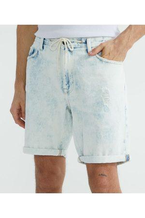 Blue Steel Homem Bermuda - Bermuda Jeans Slim com Puídos | | | 44