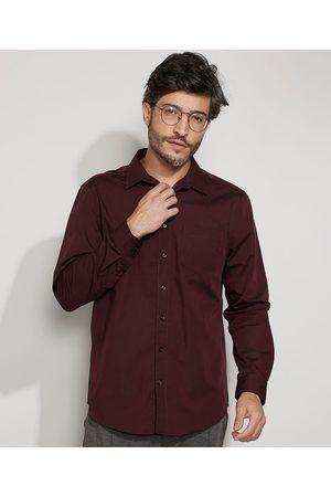ANGELO LITRICO Homem Camisa Casual - Camisa Masculina Comfort Maquinetada com Bolso Manga Longa
