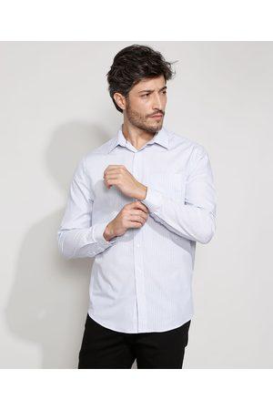 ANGELO LITRICO Homem Camisa Casual - Camisa Masculina Comfort Listrada com Bolso Manga Longa Branca