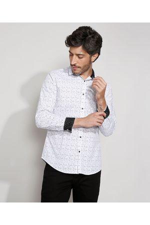 AL Contemporâneo Homem Camisa Casual - Camisa Masculina Slim Estampada com Punho Contrastante Manga Longa Off White