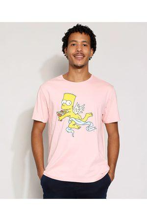 Os Simpsons Homem Manga Curta - Camiseta Masculina Manga Curta Bart Simpson Cupido Gola Careca Claro