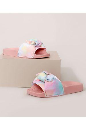 MOLEKINHA Chinelo Slide Infantil Tie Dye com Nó Rosa