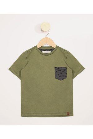 PALOMINO Menino Manga Curta - Camiseta Infantil Manga Curta com Bolso Estampado de Dinossauro Militar