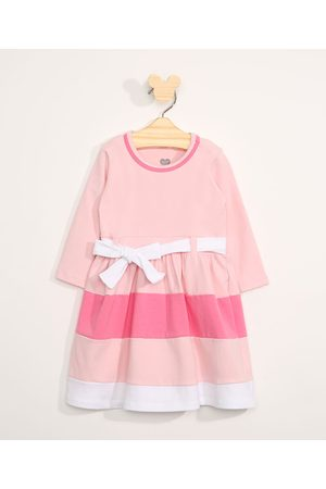 BABY CLUB Menina Vestido Estampado - Vestido Infantil Manga Longa Listrado com Recortes e Faixa para Amarrar Claro