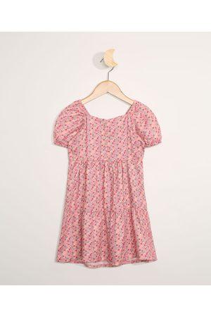 BABY CLUB Vestido Infantil Manga Curta Floral Rosa