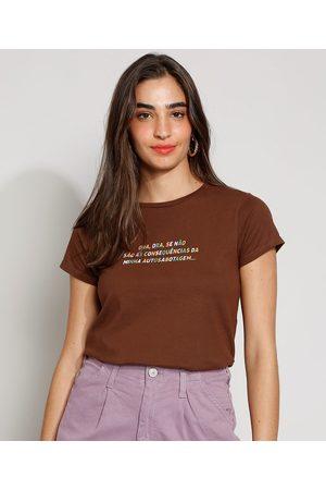 """Clockhouse Camiseta Feminina Manga Curta Autossabotagem"""" Decote Redondo """""""
