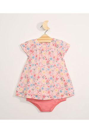 BABY CLUB Vestido Infantil Floral Manga Curta com Babado + Calcinha Rosa Claro