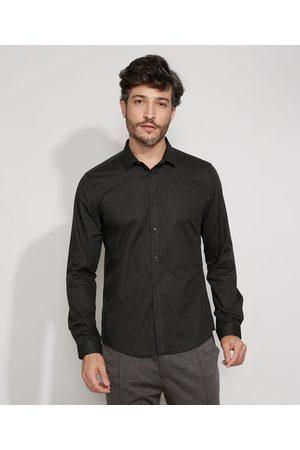 AL Contemporâneo Camisa Masculina Slim Manga Longa Preta