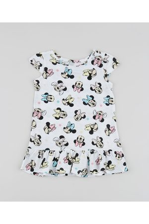 Disney Menina Vestidos - Vestido Infantil Minnie com Babados Manga Curta Off White