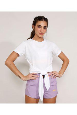 ACE Mulher Camiseta - Camiseta Feminina Esportiva com Nó Manga Curta Decote Redondo Branca