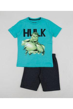 Marvel Menino Moletom Completo - Conjunto Infantil de Camiseta Hulk Manga Curta + Short de Moletom