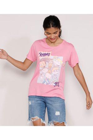Nickelodeon Camiseta Feminina Manga Curta Rugrats Os Anjinhos Flocada Decote Redondo