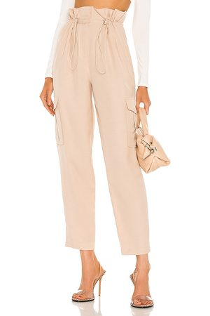 h:ours Shaye Paperbag Cargo Pant in Ivory. - size L (also in M, S, XL, XS, XXS)