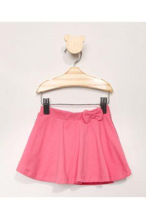 BABY CLUB Short Saia Infantil com Laço e Brilho Pink