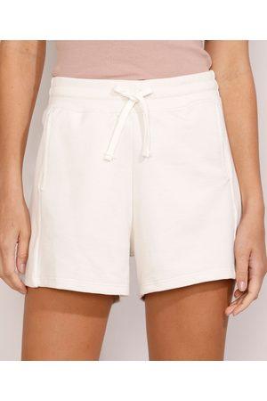 YESSICA Mulher Short - Short de Moletom Feminino Cintura Alta com Recorte Canelado e Bolsos Off White