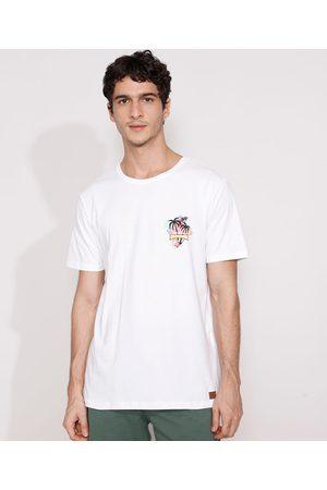 Suncoast Homem Manga Curta - Camiseta Masculina Manga Curta Coqueiros Gola Careca Branca