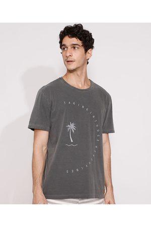 Suncoast Homem Manga Curta - Camiseta Masculina Manga Curta Coqueiros Gola Careca Chumbo