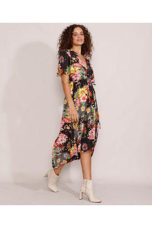 YESSICA Mulher Vestido Estampado - Vestido Feminino Midi Mullet Envelope Floral Manga Curta Ampla Preto