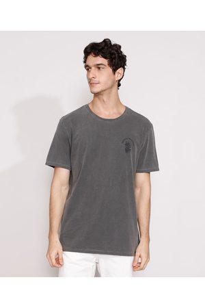 Suncoast Homem Manga Curta - Camiseta Masculina Manga Curta Folhas Gola Careca Chumbo