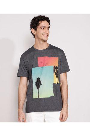 Suncoast Homem Manga Curta - Camiseta Masculina Manga Curta Paisagem Gola Careca Mescla Escuro