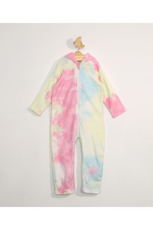 BABY CLUB Menina Macacão - Pijama Macacão Infantil em Fleece Tie Dye Unicórnio com Capuz Rosa