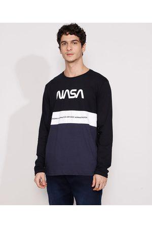 Nasa Camiseta Masculina Manga Longa com Recortes Gola Careca Preta