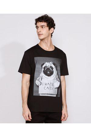 "Clockhouse Homem Manga Curta - Camiseta Masculina Manga Curta Cachorro I Hate Cats"" Gola Careca Preta"""