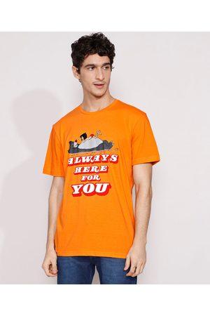 "Disney Homem Manga Curta - Camiseta Masculina Manga Curta Mogli e Balu Always Here For You"" Gola Careca """