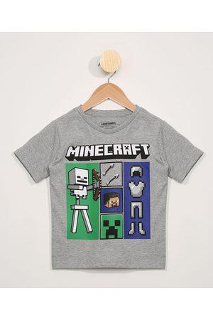 Minecraft Menino Manga Curta - Camiseta Infantil Manga Curta Mescla