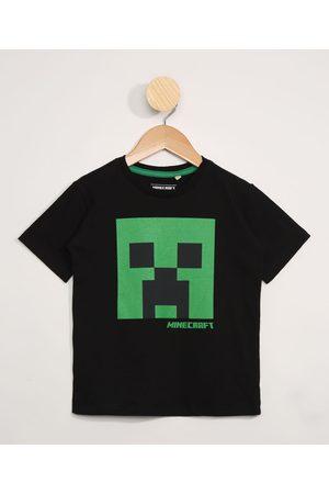 Minecraft Menino Manga Curta - Camiseta Infantil Manga Curta Preto