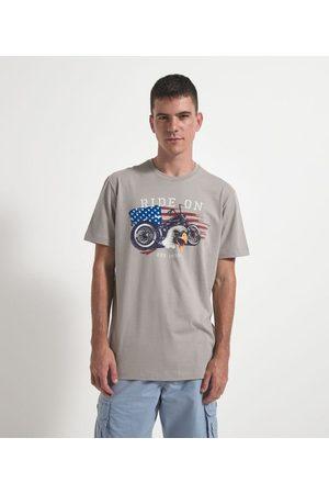 Marfinno Homem Manga Curta - Camiseta Comfort com Estampa Moto | | | GG