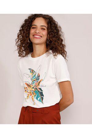YESSICA Mulher Camiseta - Camiseta Feminina Manga Curta Folhagem Decote Redondo Off White