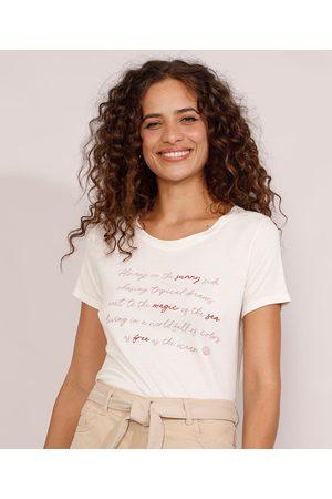 "YESSICA Mulher Camiseta - Camiseta Feminina Manga Curta Sunny Side"" Decote Redondo Claro"""