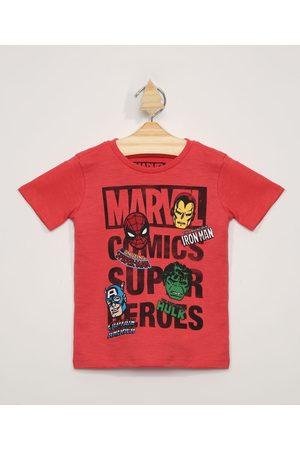 Marvel Menino Manga Curta - Camiseta Infantil Manga Curta Os Vingadores Vermelha