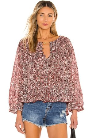 Free People Cool Meadow Printed Top in Wine. - size L (also in M, S, XS)
