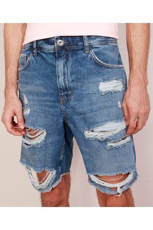 Clockhouse Homem Calça Jeans Reta - Bermuda Jeans Masculina Destroyed Reta Escuro