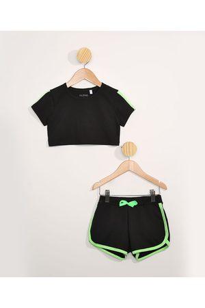 PALOMINO Menina Shorts Esportivos - Conjunto Infantil de Blusa Manga Curta Cropped Preta + Short Running com Viés Neon