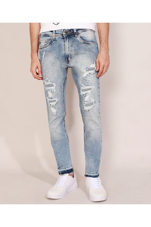 Clockhouse Homem Calça Skinny - Calça Jeans Masculina Skinny Destroyed Marmorizada Claro