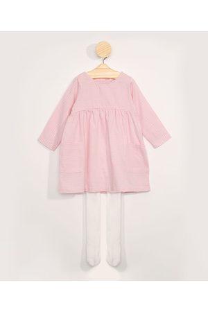 BABY CLUB Vestido Infantil Listrado Manga Longa Decote Redondo + Meia Calça Off White